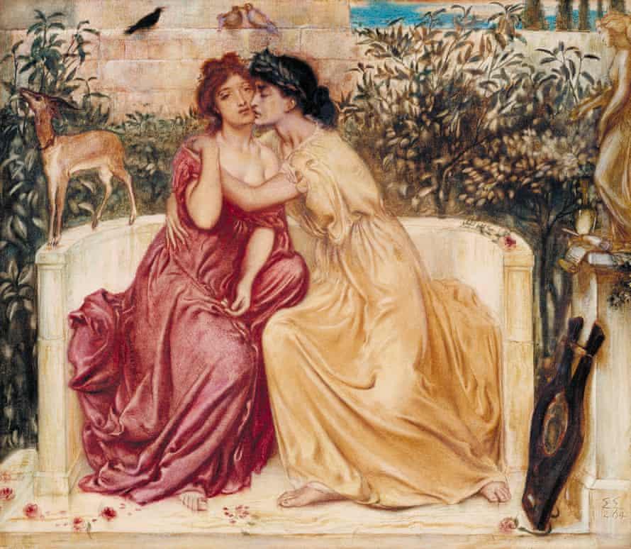 Sappho and Erinna in a Garden at Mytilene, 1864, by Simeon Solomon.