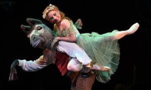 Antoinette Sibley from the Royal Ballet performs as Titania in a scene with Bottom from The Dream.
