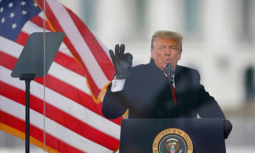 Donald Trump speaks at a rally on 6 January.