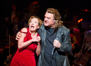 Bryn Terfel as the demon barber of Fleet Street, with Emma Thompson as Mrs Lovett, at the Coliseum, London, in 2015.