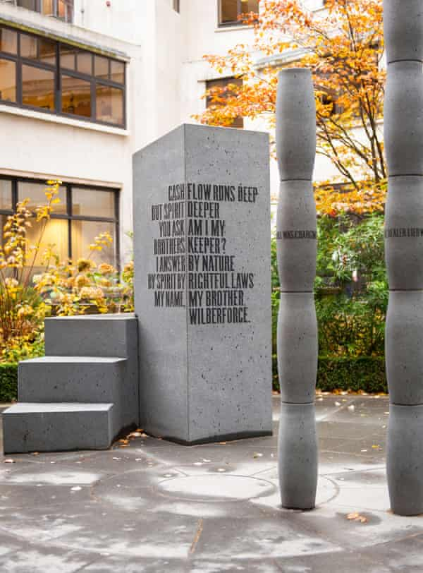 The stone sculpture in the City of London that commemorates the abolition of the slave trade bears an excerpt from Sissay's poem Gilt of Cain..