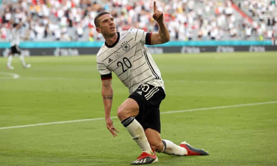 Robin Gosens celebrates Germany's fourth goal against Portugal.