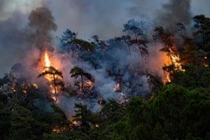 A wildfire in Marmaris district, Turkey