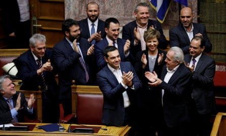 Alexis Tsipras with other MPs