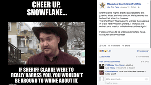 Screen shot of the Milwaukee County Sheriff's Facebook page including a quote from Sheriff David Clarke.