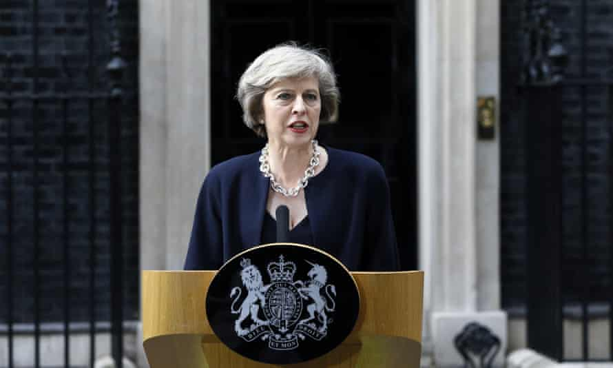 May speaks outside Downing Street on becoming prime minister