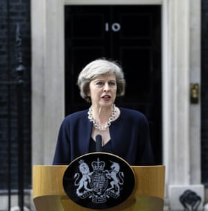 Theresa May in Downing Street after becoming prime minister: 'Her speeches, both before and after becoming prime minister, are unified by post-liberal thinking.'