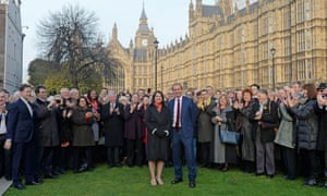 Sarah Olney MP and Tim Farron, leader of the Lib Dems, with Lib Dem colleagues at Westminster.