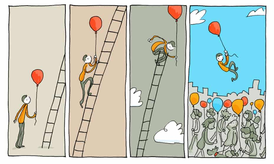 illustration shows series of panels featuring a person holding a balloon and climbing up a ladder, then descending via balloon into a crowd of people, all holding balloons