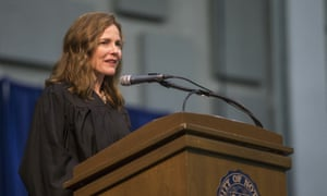 Amy Coney Barrett at the University of Notre Dame's law school commencement ceremony in 2018.
