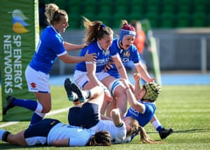 Italy's Beatrice Rigoni celebrates after scoring the opening try.