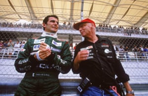 After retiring in 1985, Lauda continued his work in the aviation industry and eventually became Jaguar team principal in 2001. He's pictured here with driver Pedro de la Rosa.