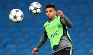 Monaco's Radamel Falcao takes part in a training session in preparation for the Champions League tie against Manchester City