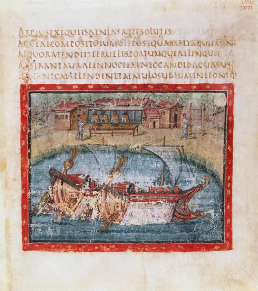 Two sailing ships, from the Aeneid by Virgil.