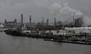 The Valero Houston Refinery is threatened by the swelling waters of the Buffalo Bayou.