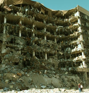 The Alfred P Murrah federal building in Oklahoma City following the truck bomb blast on 19 April 1995.