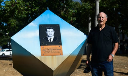 Francisco Holdago at a memorial to his son Juan in Jerez.