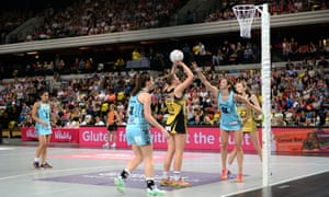 Surrey Storm and Manchester Thunder in the 2016 Netball Superleague grand final at Copper Box Arena in London.