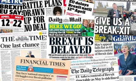 Front pages of the UK papers following the EU decision to offer two deadlines for a delayed Brexit, Friday 22 March 2019.