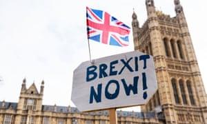A pro-Brexit banner outside parliament.