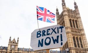A pro-Brexit sign outside parliament.