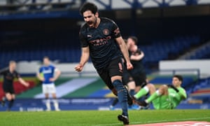 Ilkay Gundogan of Manchester City celebrates after scoring his side's first goal.