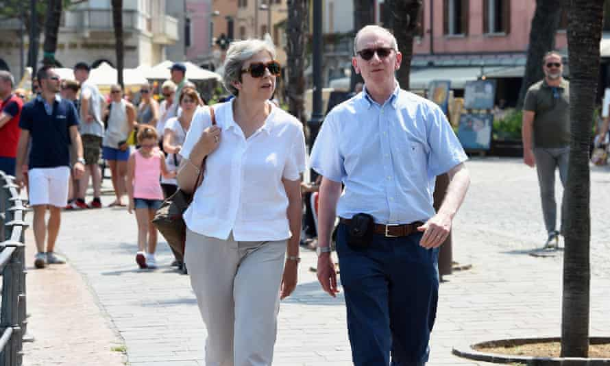 Theresa May and her husband, Philip, on the waterfront in Desenzano del Garda, Italy.
