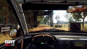 "A shot of Codemaster's DiRT Rally 2.0, urging players to ""Stay At Home, Save Lives"" in April."