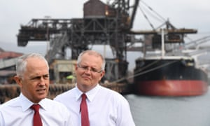 Australian prime minister Malcolm Turnbull (left) and treasurer Scott Morrison during a visit to Bluescope Steel in Wollongong, 12 March 2018.