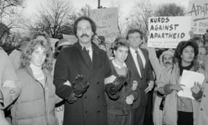 Voices of protest: Rory and Douglas Kennedy with Randall Robinson and Gary Hart marching against apartheid outside the South African Embassy in Washington.
