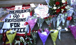 Tributes in Liverpool to the 96 Liverpool fans who died at the FA Cup semi-final at Hillsborough, Sheffield,  in 1989
