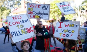 A group of protesters outside a Sydney meeting between Indigenous leaders and politicians discussing constitutional recognition, in Kirribilli, Sydney, on Monday.