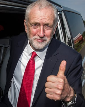 Labour leader Jeremy Corbyn gives the thumbs up.
