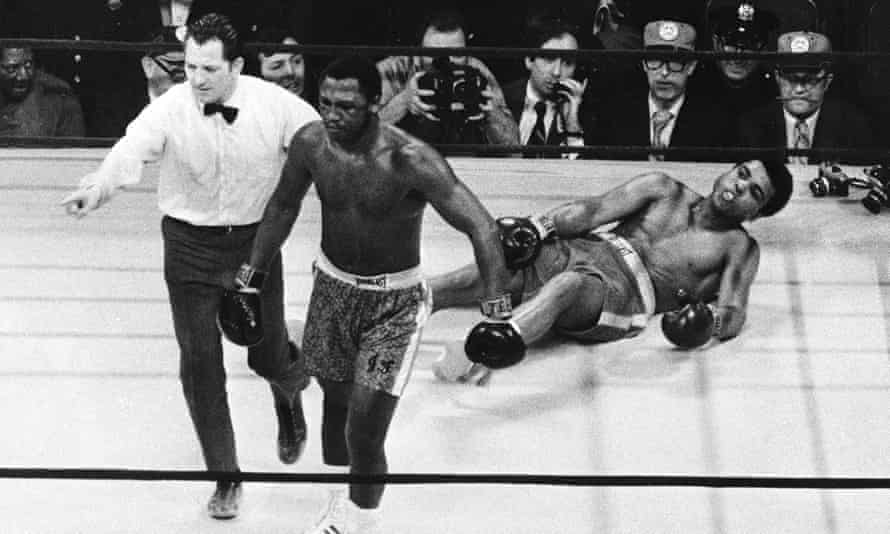 Joe Frazier after knocking down Muhammad Ali in the 15th round of their epic 1971 fight.