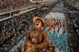 Rio, Brazil. Performers from the Portela Samba School, winners of the 2017 Rio Carnival, take part in the Champions' Parade at the Sambadrome