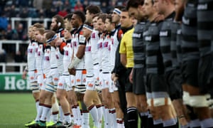 Newcastle and Edinburgh players observe a minute's silence in memory of Nicolas Chauvin