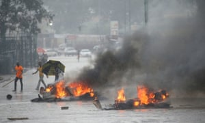 Barricades set alight during protests in Harare