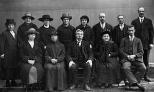 The Manchester Guardian's cleaning staff, as photographed for the paper's centenary album in 1921.