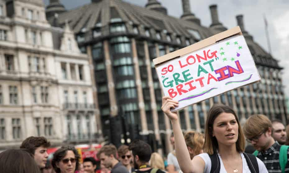 A protest at Parliament Square following the decision to leave the EU.