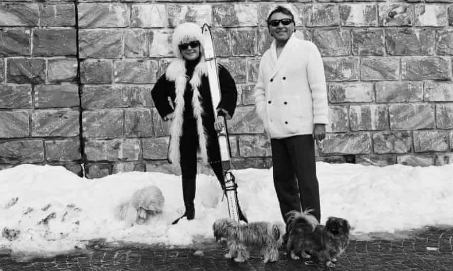 Richard Burton and Liz Taylor on Boxing Day, 1967, in Gstaad.