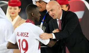 Almoez Ali and Gianni Infantino
