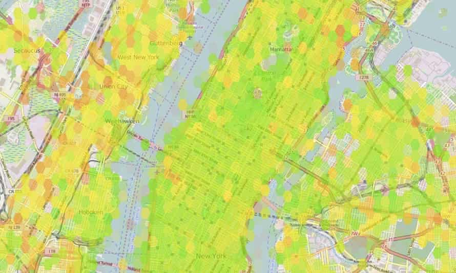 A map of New York showing the happiest (greenest) and least happy (reddest) areas of the city. Check out the full map here.