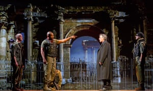 André Sills, second from left, as Coriolanus in Robert Lepage's 2018 production for the Stratford festival in Canada.