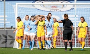 Tottenham's Ria Percival reacts after Manchester City's fourth goal