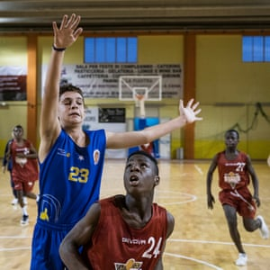 Tam Tam player Wisdon goes for the hoop during a match with Caserta