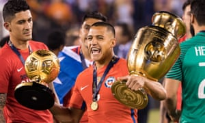 Chile's Alexis Sánchez celebrates after winning the final.