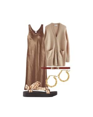 Soft shadesKeep it tonal in neutral shadesSlip dress, £215, Max Mara at net-a-porter.com. Oversized cardigan, £99, stories.com. Horsebit belt, £105, uk.maje.com. Recycled earrings, £165, lovenesslee.com. Gingham sandals, £195, loefflerrandall.com