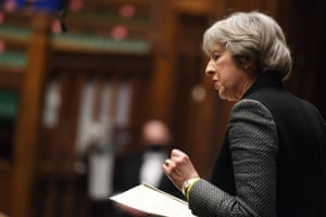 Theresa May speaking in the Commons earlier this year.