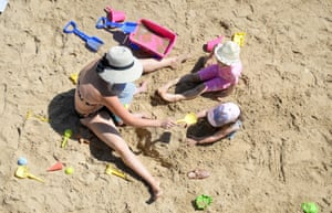 Playing in the sand in Bournemouth