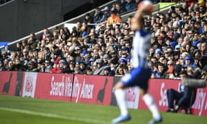 Brighton fans watch on during the game at home to Crystal Palace this season. NHS workers will be invited to the stadium under the club's initiative.